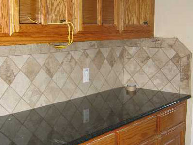 Backsplash Medium Squares Angled diamond pattern with a
